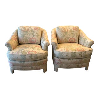 Vintage Pastel Tropical Birds Club Lounge Chairs - a Pair