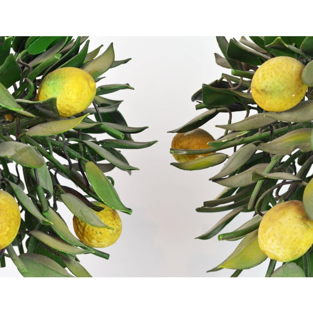 Pair of Vintage Italian Painted Tole Lemon Bush Lamps in Cast Stone Urns For Sale - Image 10 of 13