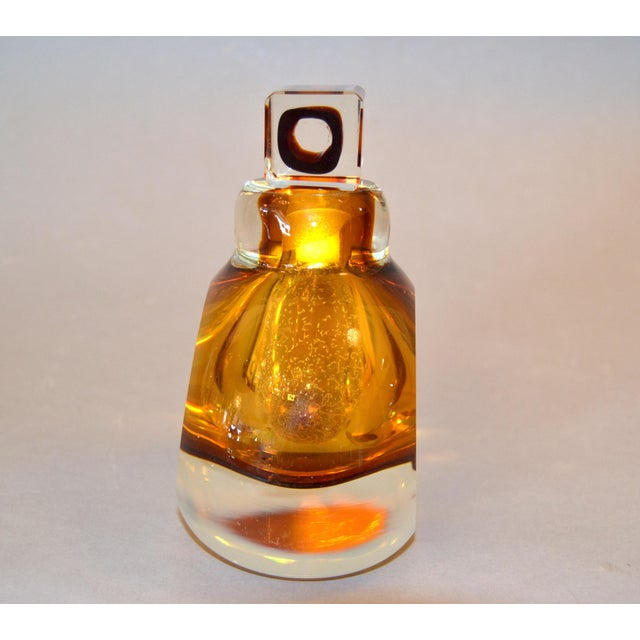 Vintage Clear & Amber Controlled Bubbles Murano Art Glass Perfume Bottle Italy For Sale In Miami - Image 6 of 13