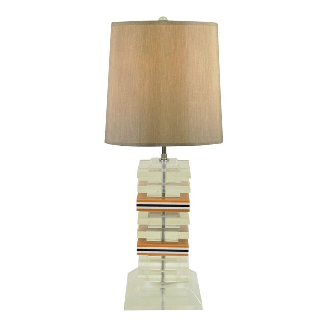 Vintage Mid Century Modern Stacked Lucite Skyscraper Table Lamp Karl Springer For Sale