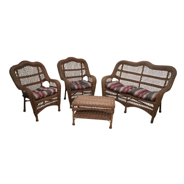 Quality Outdoor Wicker Patio Set - 4 Pieces - Image 1 of 10