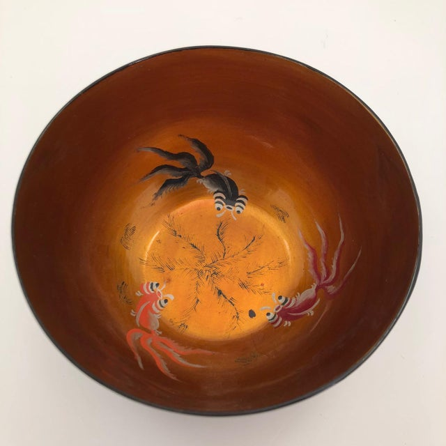 This charming vintage hand-painted Chinese Foochow lacquer bowl features a gold interior with three goldfish and a black...
