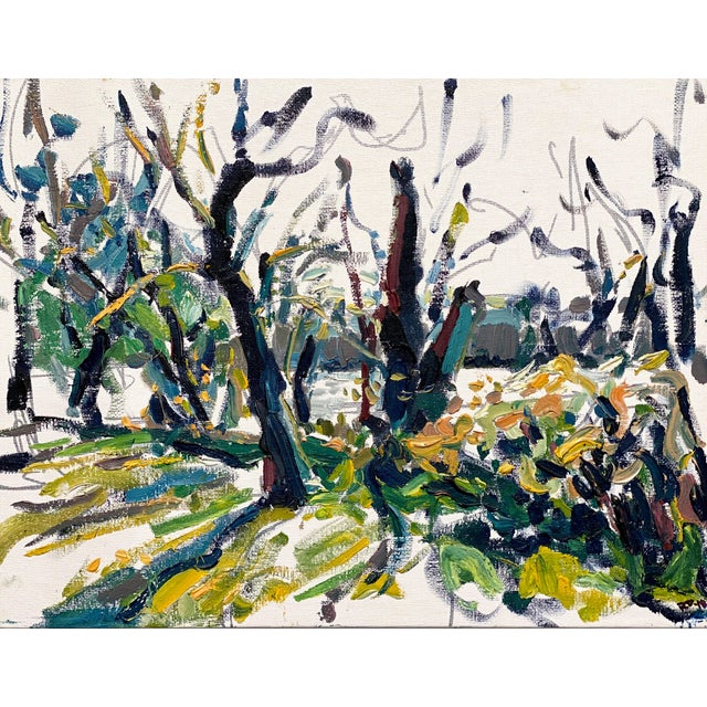 Abstract Expressionist James River Morning - Original Oil Painting by Rebecca Dvorak For Sale