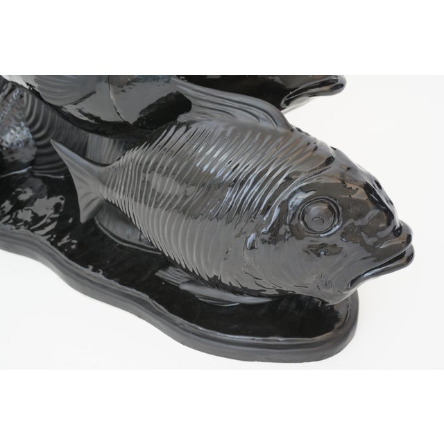 Black Art Deco 1930s Lejan Style Sculpture School of Fish in Black Ceramic For Sale - Image 8 of 12