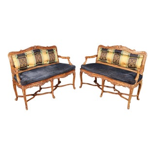 Pair French Louis XV Style Custom Upholstered Cane Window Benches Settees For Sale
