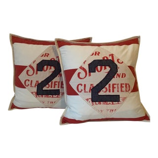 Ralph Lauren Rugby Stripe Red & White Throw Pillows - a Pair For Sale