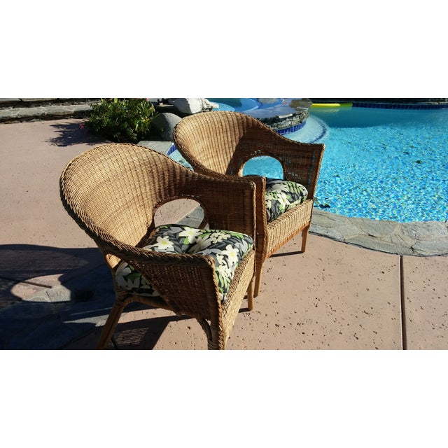 Wicker Patio Chairs with Cushions - A Pair - Image 3 of 8