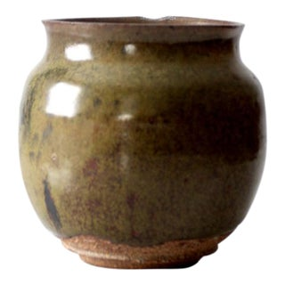 Mid-Century Studio Pottery Green Glaze Vase For Sale