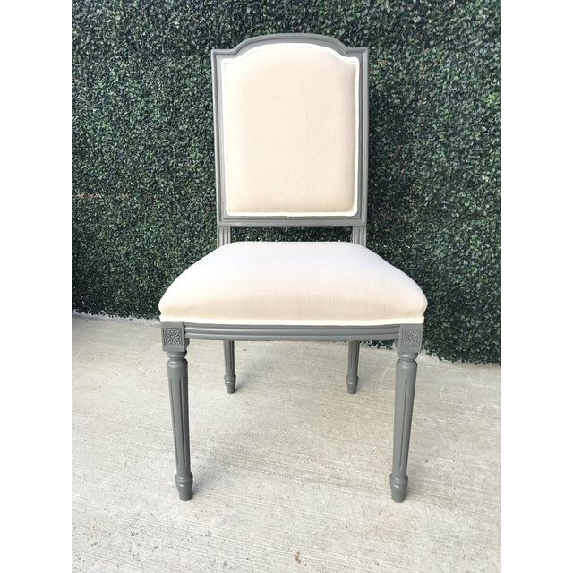 Estimated Retail Price: $1,680.00. Beechwood Frame, Linen Flax - Varentone Grey, Set of 2 The Louis XVI Squared Side Chair...