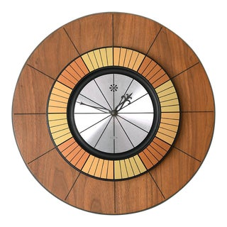 1960s Mid-Century Danish Modern Round Walnut Elgin Clock