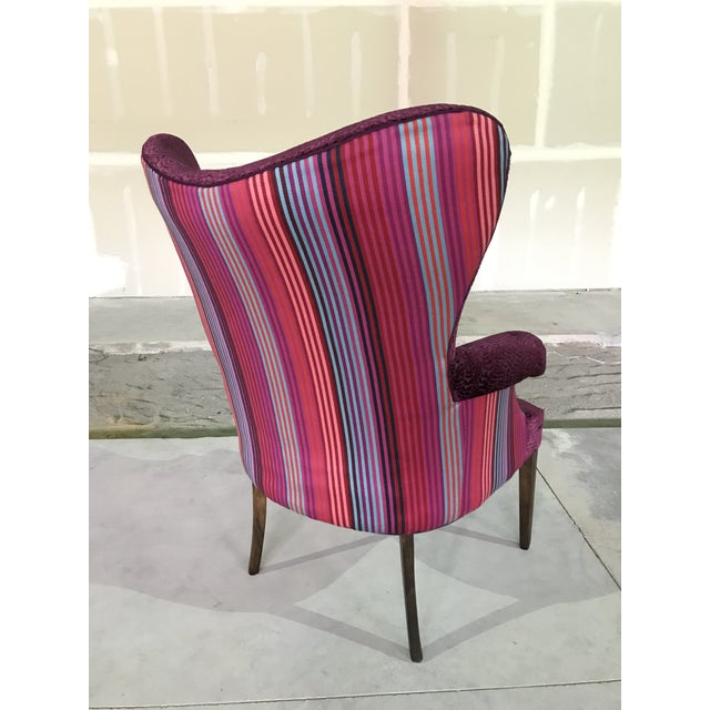 Eggplant 1940s Vintage Butterfly Wingback Fireside Chair Attributed to Grosfeld House Designers Guild Velvet For Sale - Image 8 of 12