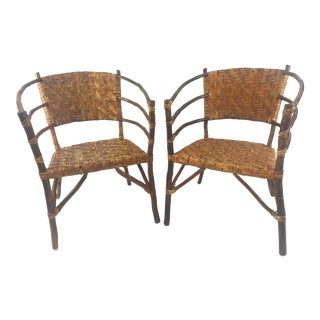 Vintage Barrel Backed Hickory Hoop Arm Chairs - A Pair For Sale