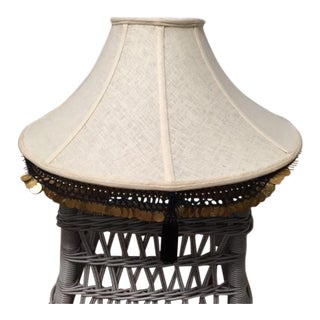 Modern Boho Chic-Style Off-White Fabric Lampshade For Sale