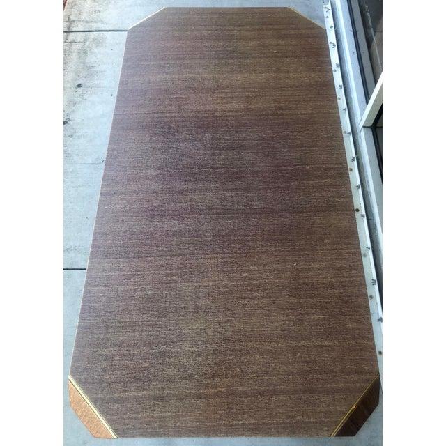 Linen Covered & Brass Details Desk For Sale - Image 4 of 8