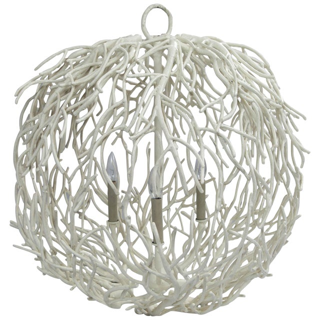 Coral or Twig Globe Pendant Chandelier For Sale