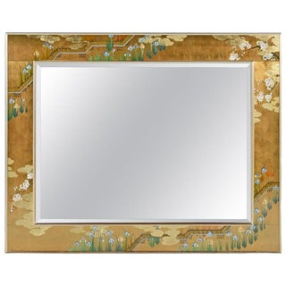 Gold Leaf Églomisé Chinoiserie Brass Frame Mirror by Labarge, Signed and Dated For Sale
