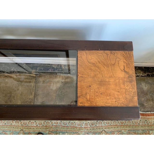 1970s Mixed Wood and Glass Sofa Console Table For Sale - Image 4 of 6