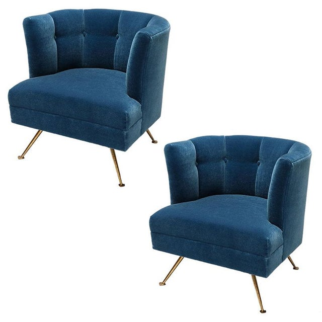 1960s Italian Lounge Chairs in Blue Mohair-A Pair For Sale - Image 9 of 9