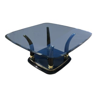 Henredon Black Lacquered Faux Tusk Coffee Table For Sale
