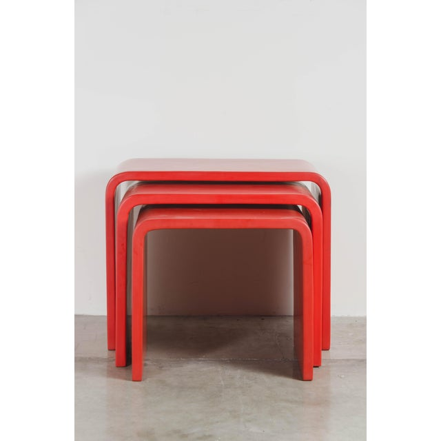 Waterfall Nesting Tables Red Lacquer Hand Made Wood Base Limited Edition Each piece is individually crafted and is unique....