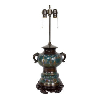 Restored Antique Champleve Table Lamp For Sale