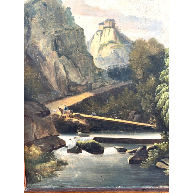 Early 20th Century French Trumeau Mirror With Idyllic Pastoral Landscape For Sale - Image 5 of 12