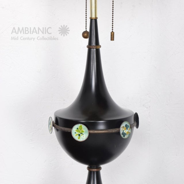 Mid Century Mexican Modernist Table Lamp With Enamel Decorations For Sale - Image 9 of 9