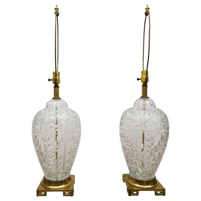 Mid-Century Glass & Brass Ginger Jar Lamps - Pair - Image 1 of 6