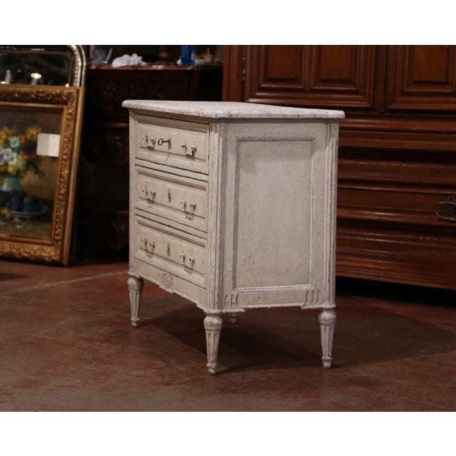 Marble Pair of 19th Century Louis XVI Carved Painted Commodes With Faux Marble Top For Sale - Image 7 of 10