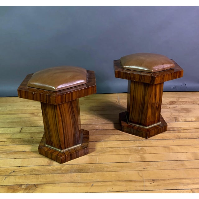 Brass Pair Hexagonal Rosewood and Brass Stool, France 1960s For Sale - Image 7 of 11