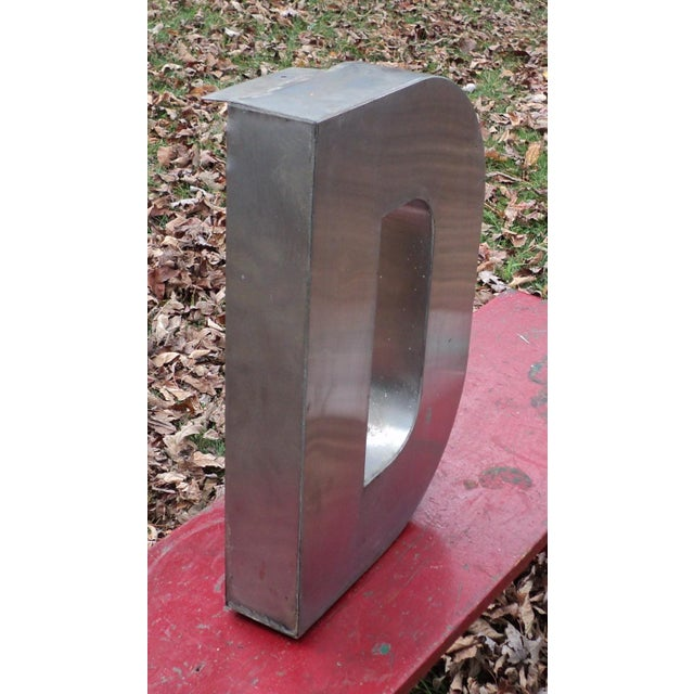"""Antique Industrial Stainless Steel Metal Letter """"D"""" - Image 4 of 5"""