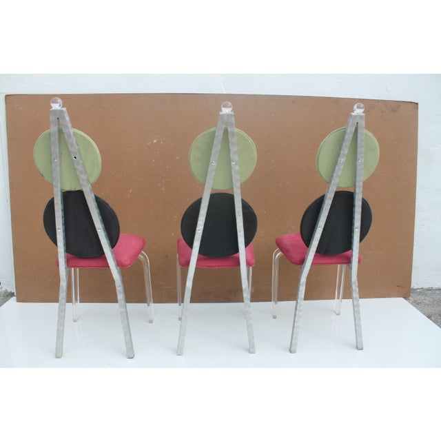 Vintage Lucite & Aluminum Dining - Chairs Set of 3 For Sale - Image 5 of 11