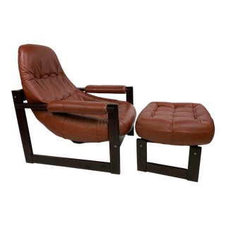 Percival Lafer Brazilian Rosewood Lounge Chair & Footstool For Sale
