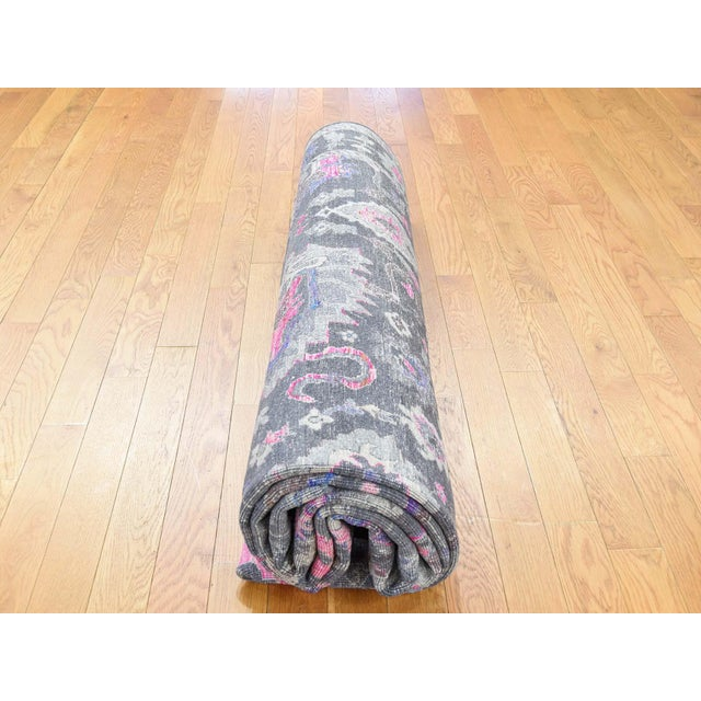 Sari Silk With Oxidized Wool Hand Knotted Oushak Runner- 8′1″ × 10′2″ For Sale - Image 10 of 13