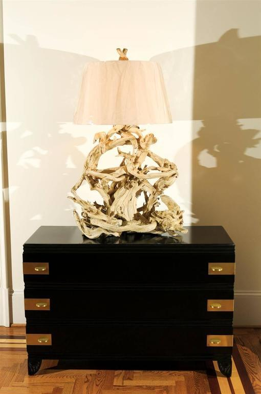 Majestic Restored Vintage Driftwood Lamp In Gesso   Image 10 Of 10