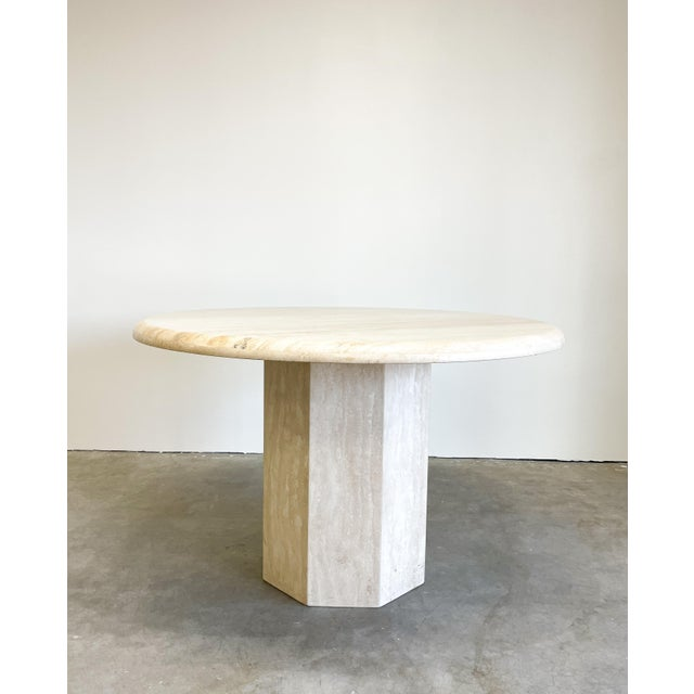 Mid-Century Modern Vintage Postmodern Travertine Marble Round Dining Table For Sale - Image 3 of 12