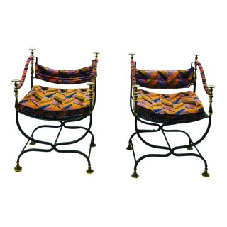1960s Vintage Italian Campaign Savonarola Chairs- A Pair For Sale