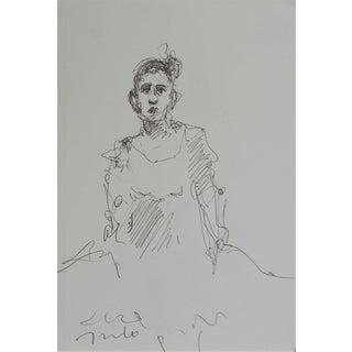 Contemporary Jose Trujillo Expressionist Pen Ink Paper Portrait of Girl - 5x8 For Sale