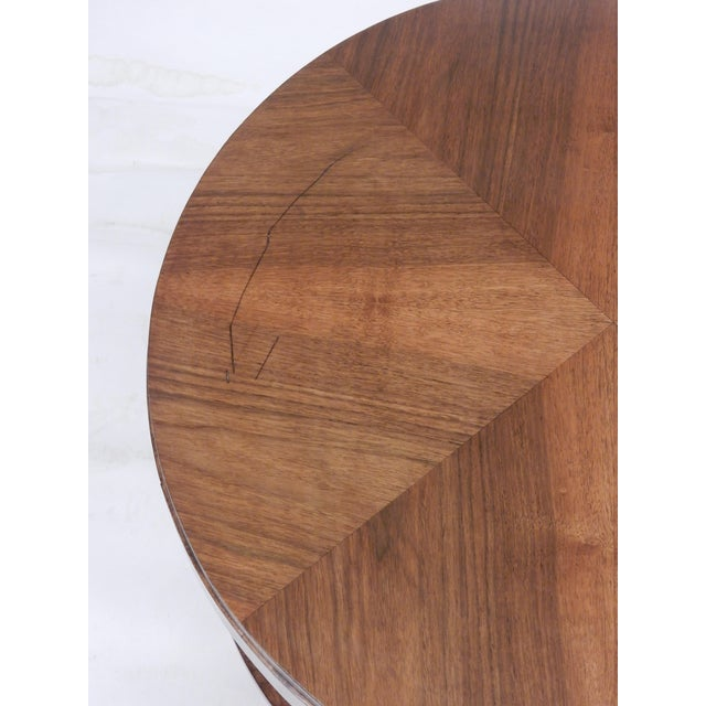 1930's Round Art Deco Walnut Side Table For Sale In New Orleans - Image 6 of 9