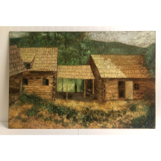 Paint Large Cabin Scene Oil by James Bone 1960 For Sale - Image 7 of 7