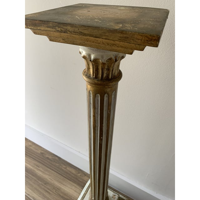 Rustic European Vintage Louis Style French Classical Display Pedestal For Sale - Image 3 of 13
