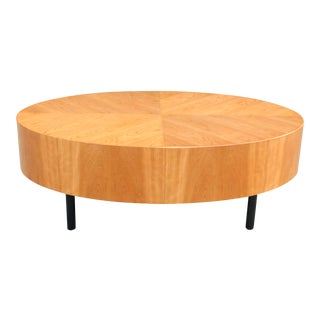 1960's Danish Modern Book Matched Oval Coffee Table For Sale