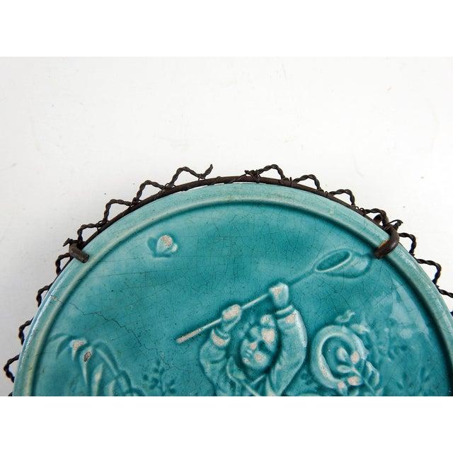 Art Nouveau 1910s Art Nouveau Turquoise Majolica Butterfly Catcher Trivet For Sale - Image 3 of 4