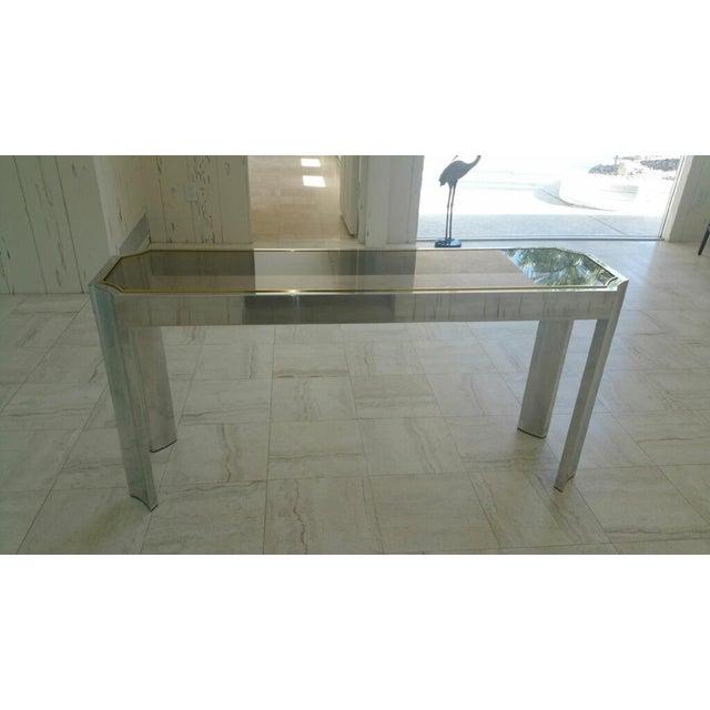 Aluminum & Brass Sofa Table - Image 3 of 6
