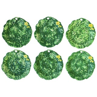 Set of Six Italian Designer Green Matte Pottery Plates With Lotus Design For Sale
