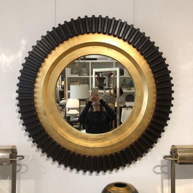 "Circular black and gold gilt wood ""Burgess"" wall mirror by Neirmann Weeks. Size: 38"" Diameter"