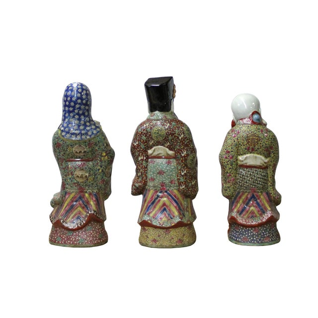 2010s Chinese Color Mixed Ceramic SanXing ( 3 Deities ) Fu Lu Shou Figure Se For Sale - Image 5 of 7