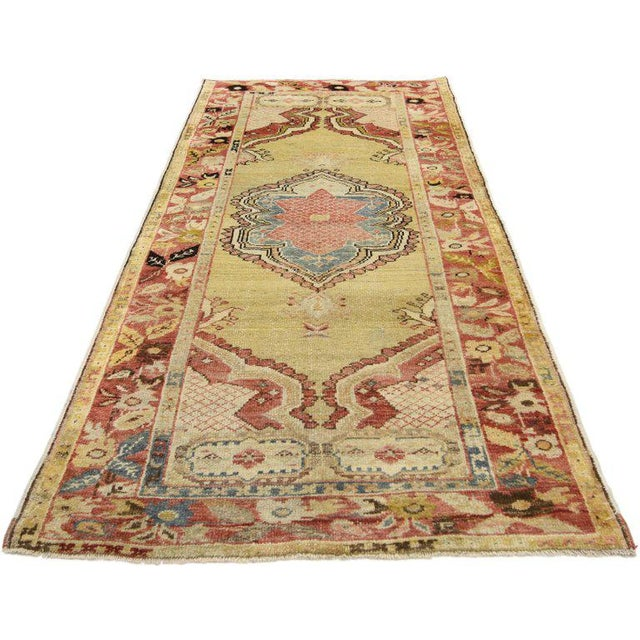 Mid 20th Century Vintage Mid-Century Turkish Oushak Accent Rug - 2′9″ × 5′10″ For Sale - Image 5 of 8