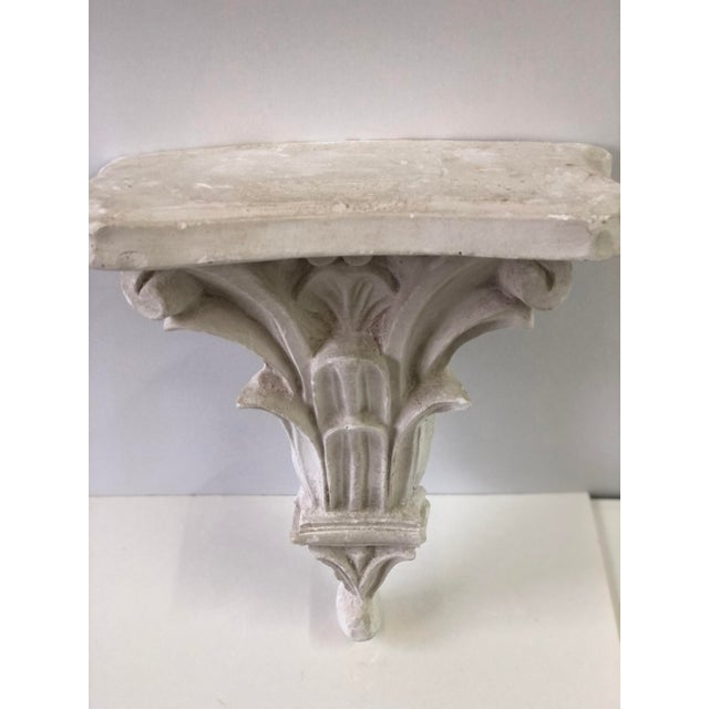 Art Deco Neoclassical White Acanthus Carved Plaster Wall Bracket For Sale - Image 3 of 12