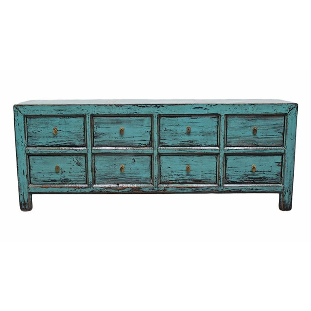 Distressed Blue 8-Drawer Cabinet - Image 1 of 4